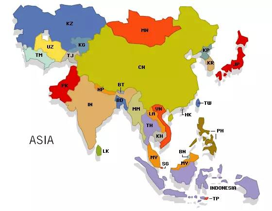 亚洲地图-亚洲能力